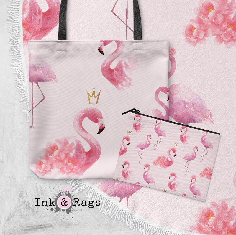 Princess Flamingo with Crowns Round Beach Towel and Tote Summer Set