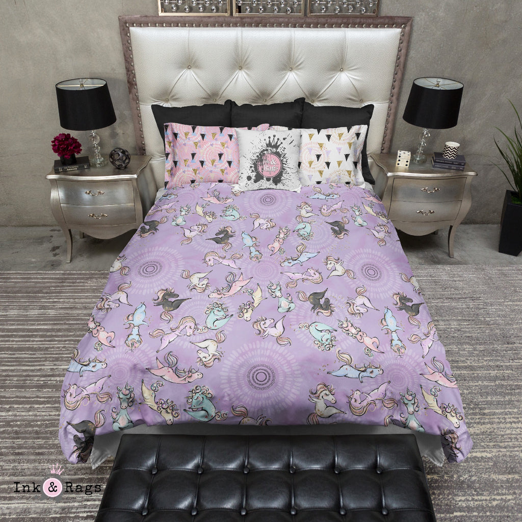 Zen Yoga Unicorns with Mandalas in Purple Bedding Collection