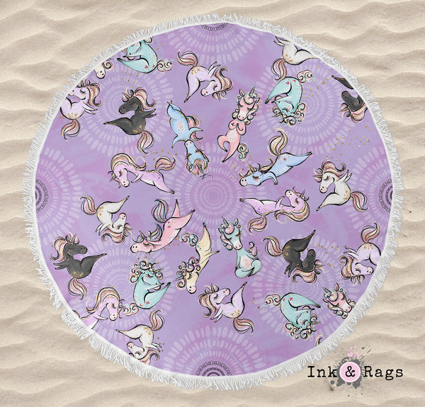 Zen Yoga Unicorns with Mandalas in Purple Round Beach Towel and Tote Summer Set