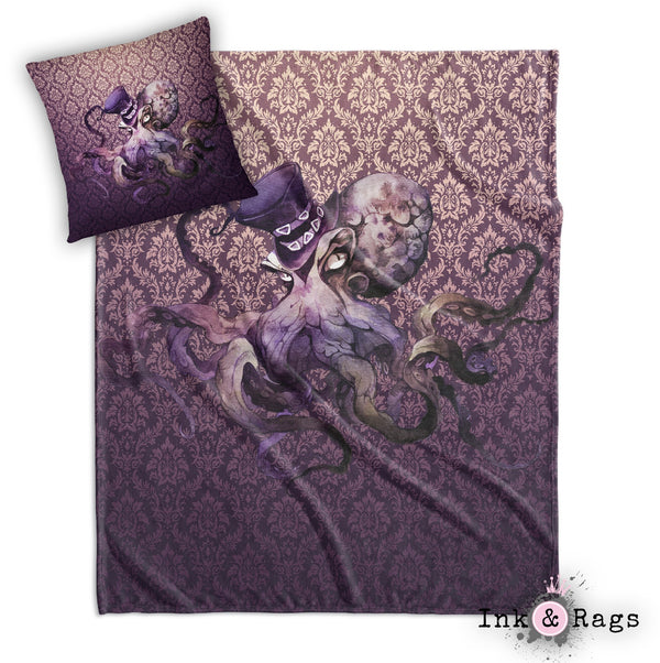 GothOctopus Gothic Purple Octopus Decorative Throw and Pillow Cover Set