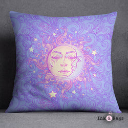 Boho Windy Day Sun and Moon Decorative Throw Pillow Cover