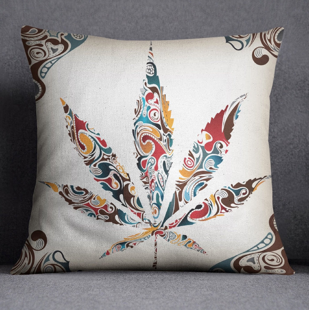 White Smoke Leaf Cannabis Marijuana Decorative Throw Pillow Cover