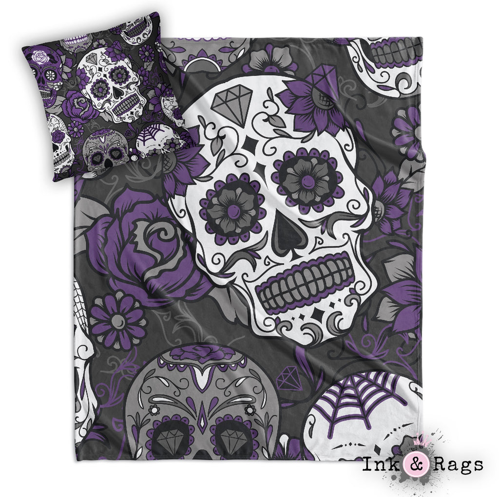 Purple and Grey Sugar Skull and Rose Decorative Throw and Pillow Cover Set