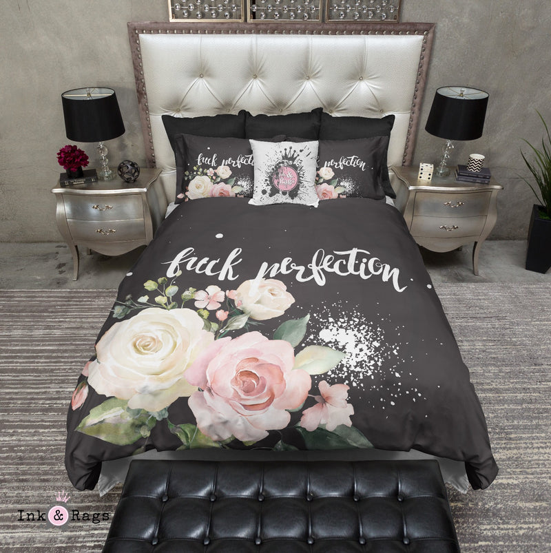 Fuck Perfection Pastel Watercolor Rose Bedding