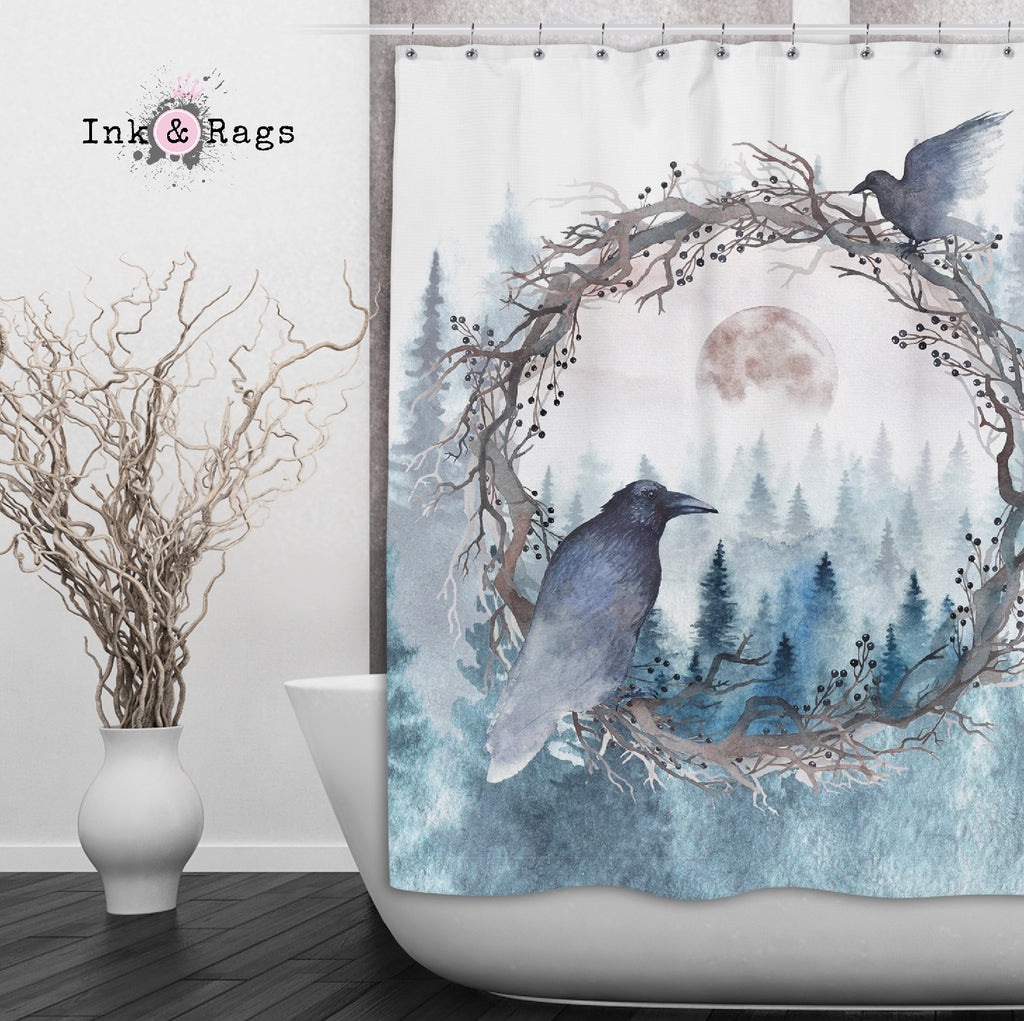 Poe Inspired Watercolor Forest Moon Raven Shower Curtains and Optional Bath Mats