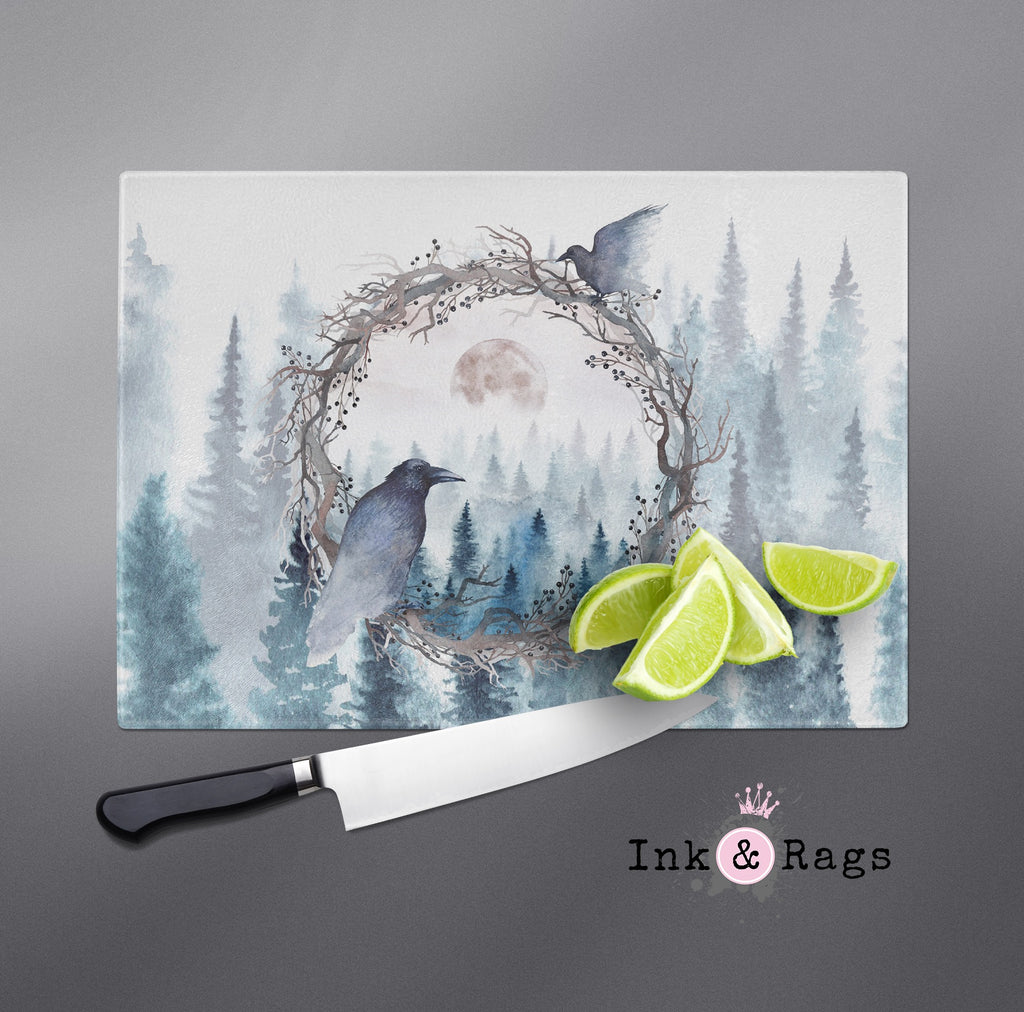 Poe Inspired Watercolor Forest Moon Raven Cutting Boards