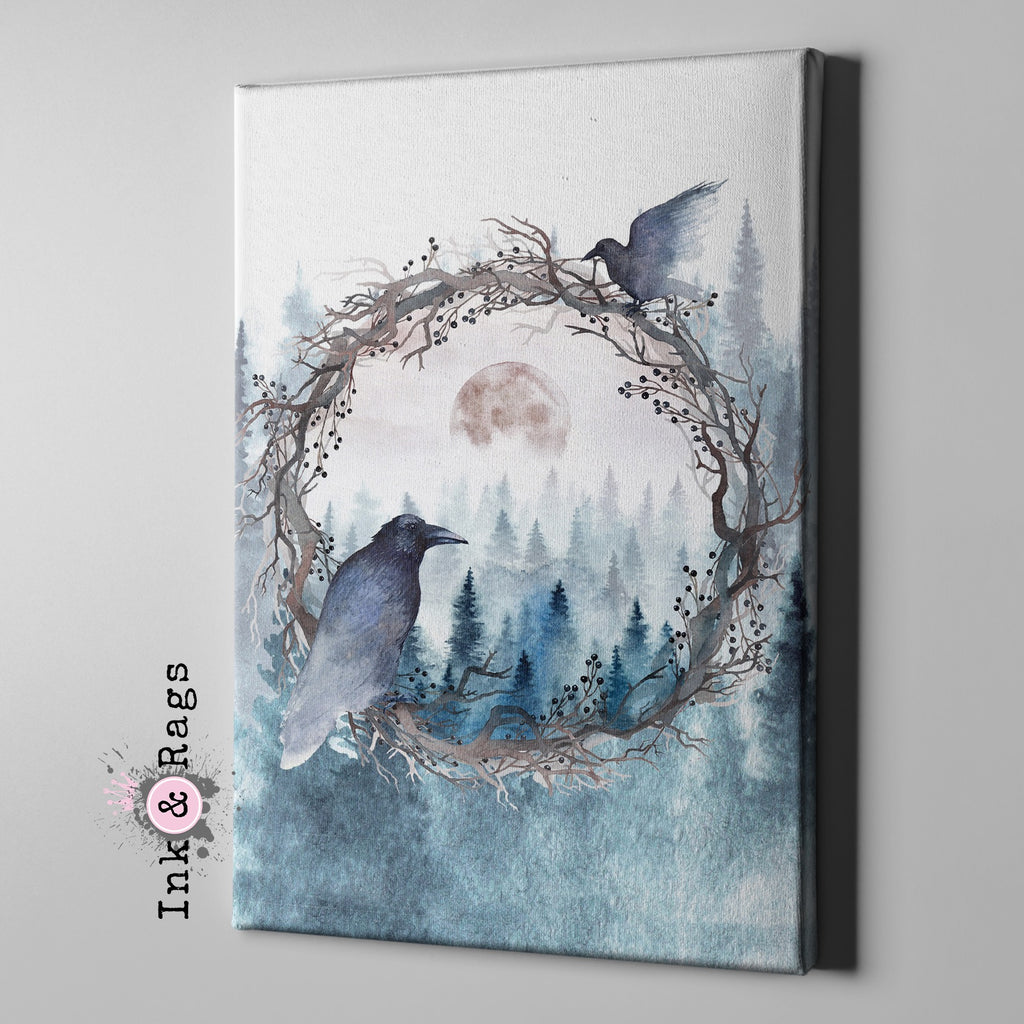 Poe Inspired Watercolor Forest Moon Raven Gallery Wrapped Canvas