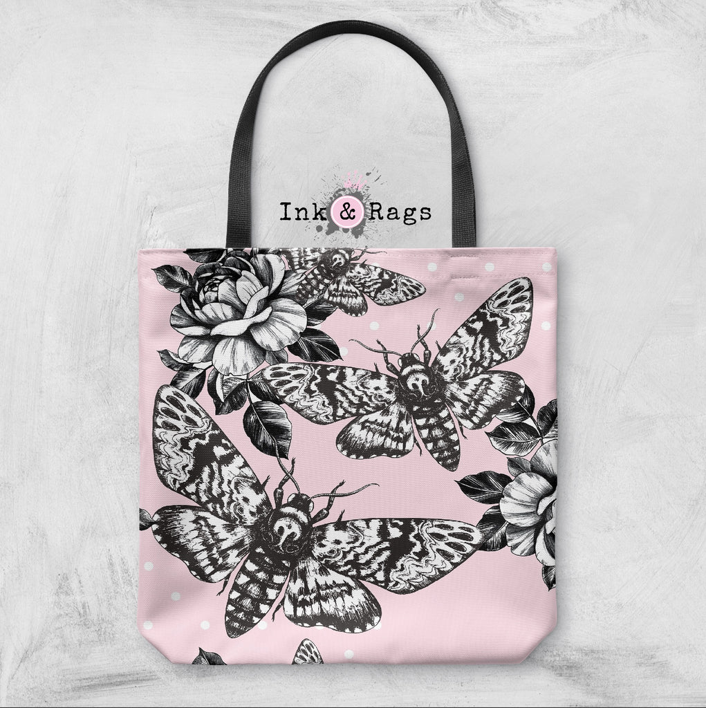 Pink Death Head Moth and Rose Casual Tote