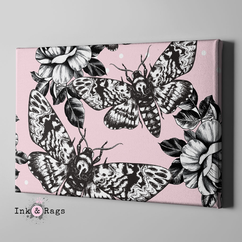 Pink Death Head Moth and Rose Gallery Wrapped Canvas