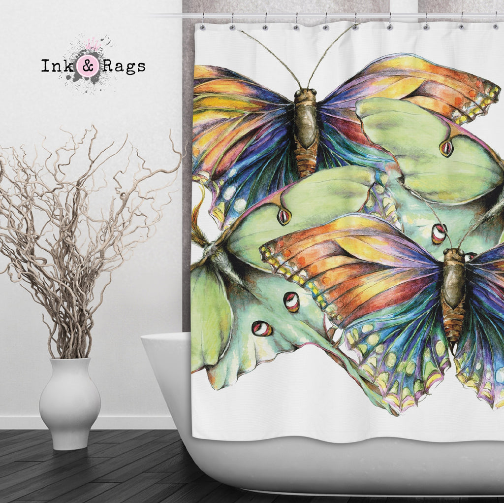 Butterfly and Luna Moth Watercolor Shower Curtains and Optional Bath Mats