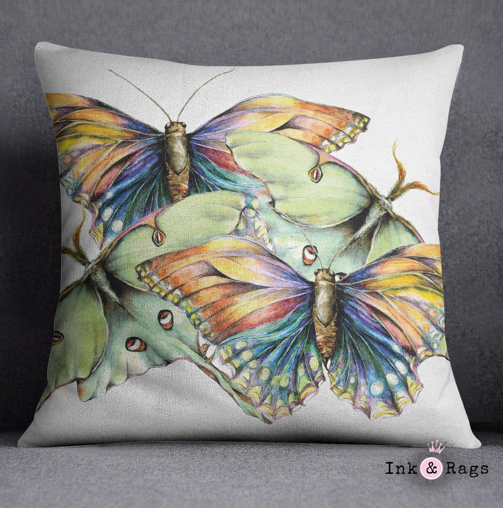 Butterfly and Luna Moth Watercolor Decorative Throw Pillow Cover