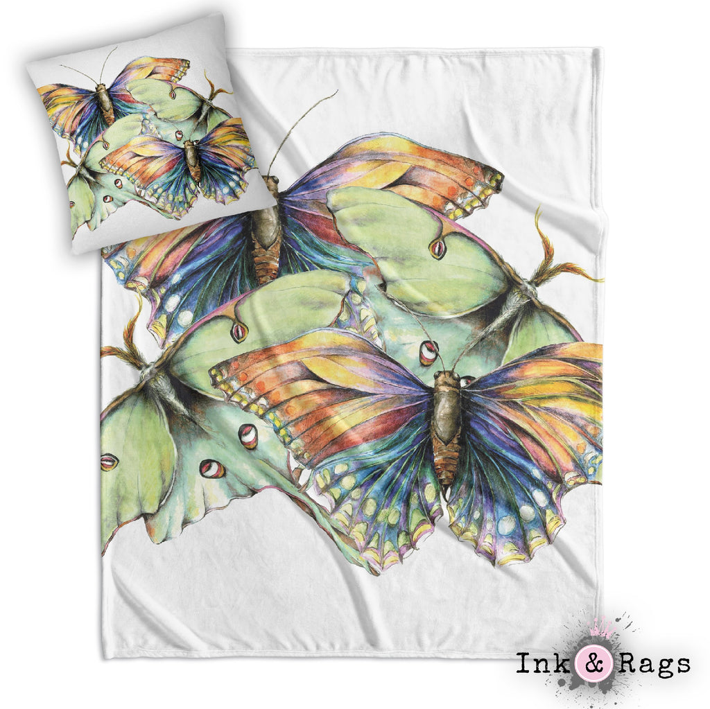 Butterfly and Luna Moth Watercolor Decorative Throw and Pillow Cover Set