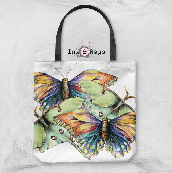 Butterfly and Luna Moth Watercolor Casual Tote