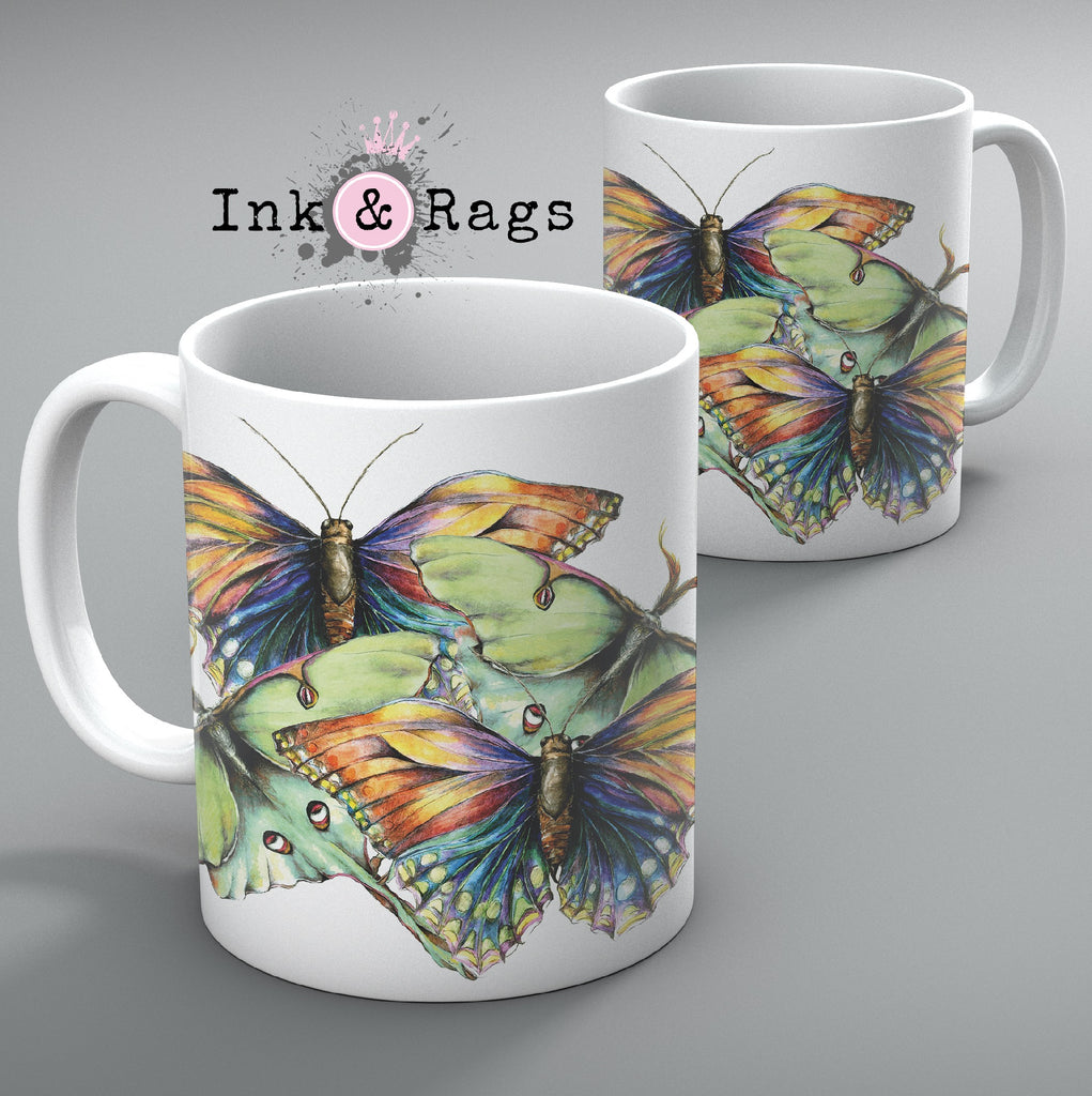 Butterfly and Luna Moth Watercolor Mug Set of 2