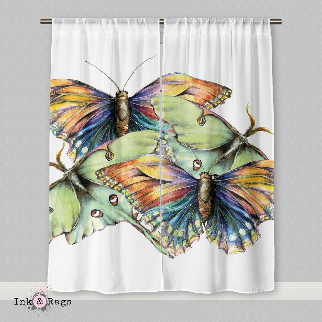 Butterfly and Luna Moth Watercolor Curtains