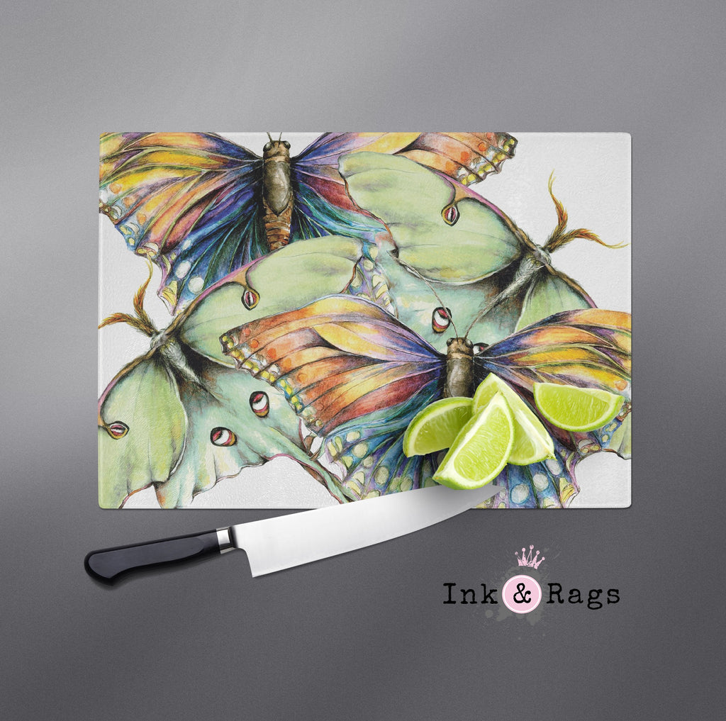 Butterfly and Luna Moth Watercolor Cutting Boards