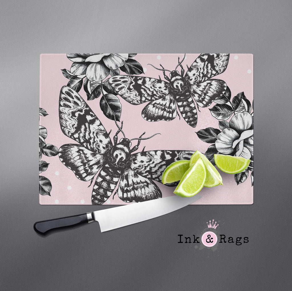 Pink Death Head Moth and Rose Cutting Boards