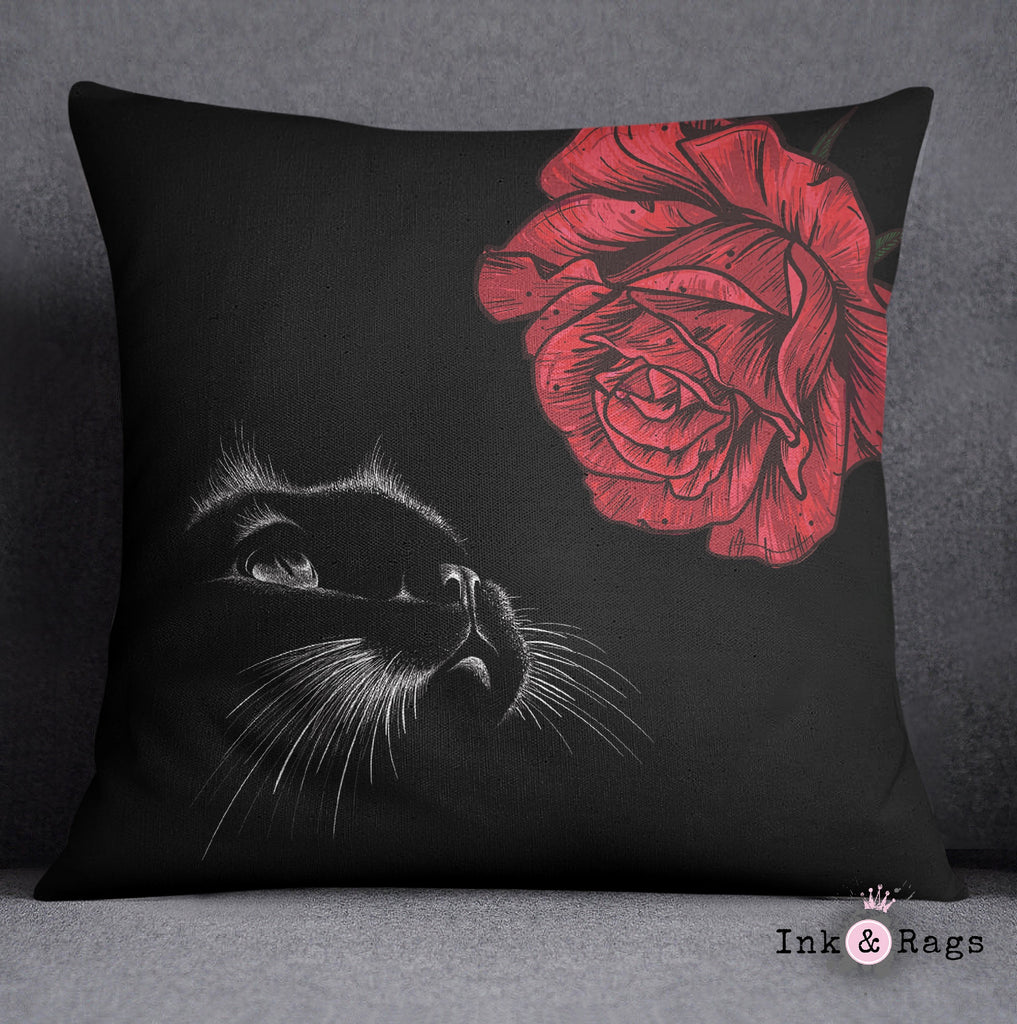 Here Kitty Kitty Red Rose Cat Decorative Throw Pillow Cover