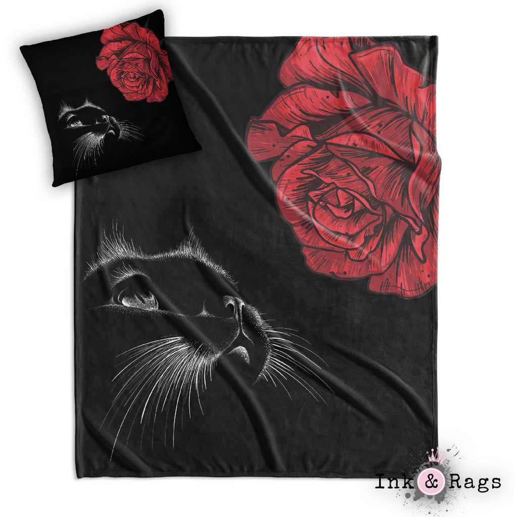 Here Kitty Kitty Red Rose Cat Decorative Throw and Pillow Cover Set