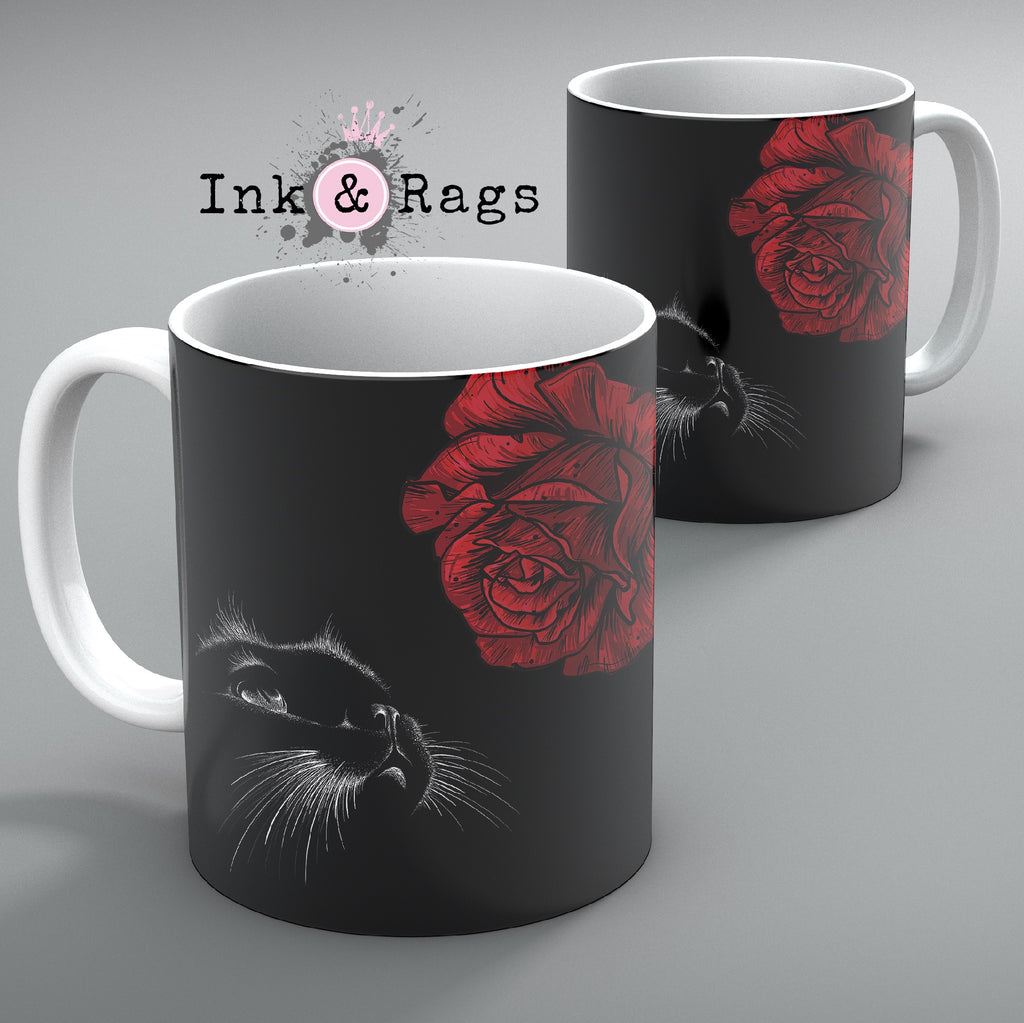 Here Kitty Kitty Red Rose Cat Mug Set of 2
