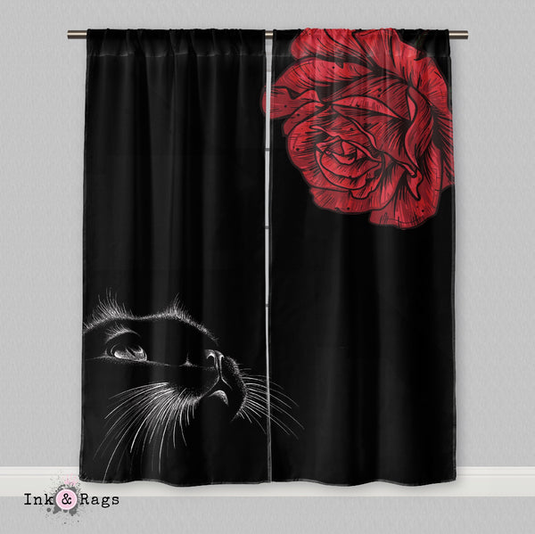 Here Kitty Kitty Red Rose Cat Curtains