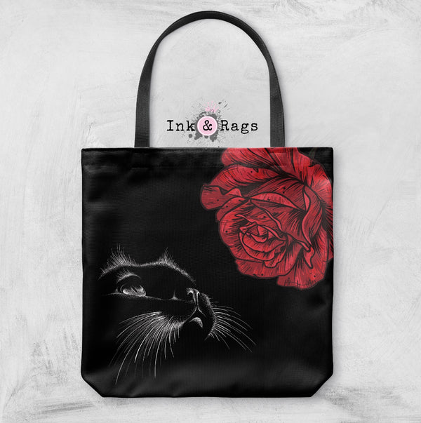 Here Kitty Kitty Red Rose Cat Casual Tote