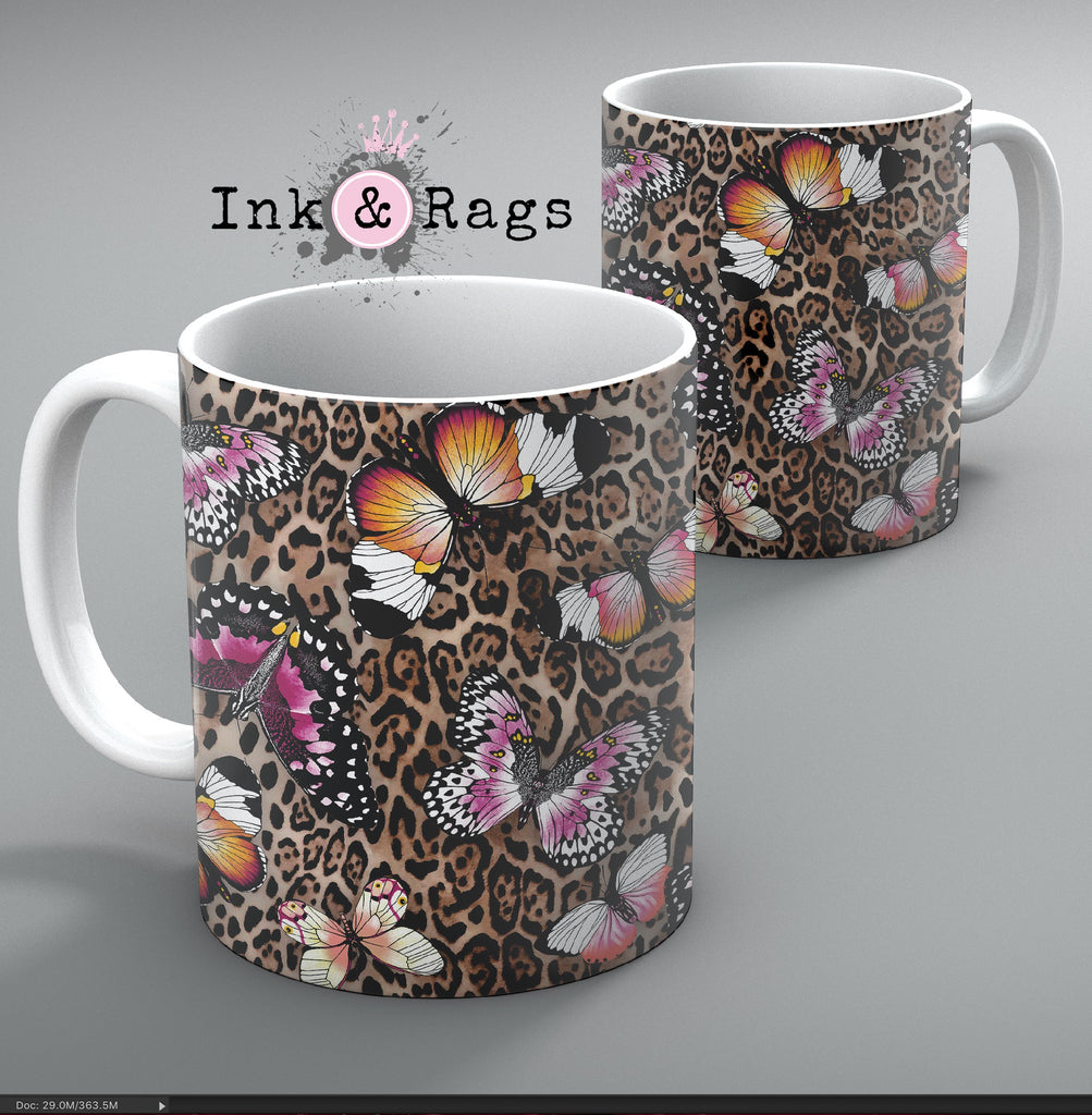 Leopard and Butterfly Mug Set of 2