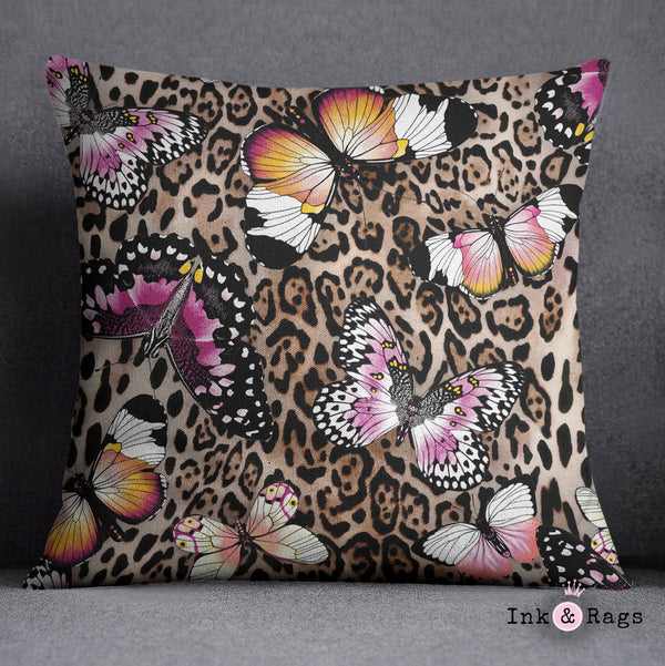 Leopard and Butterfly Decorative Throw Pillow Cover