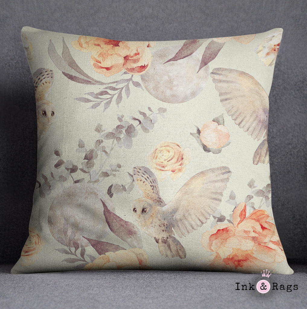 Watercolor Owl Moon and Rose Decorative Throw Pillow Cover