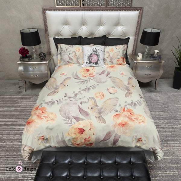 Watercolor Owl Moon and Rose Bedding