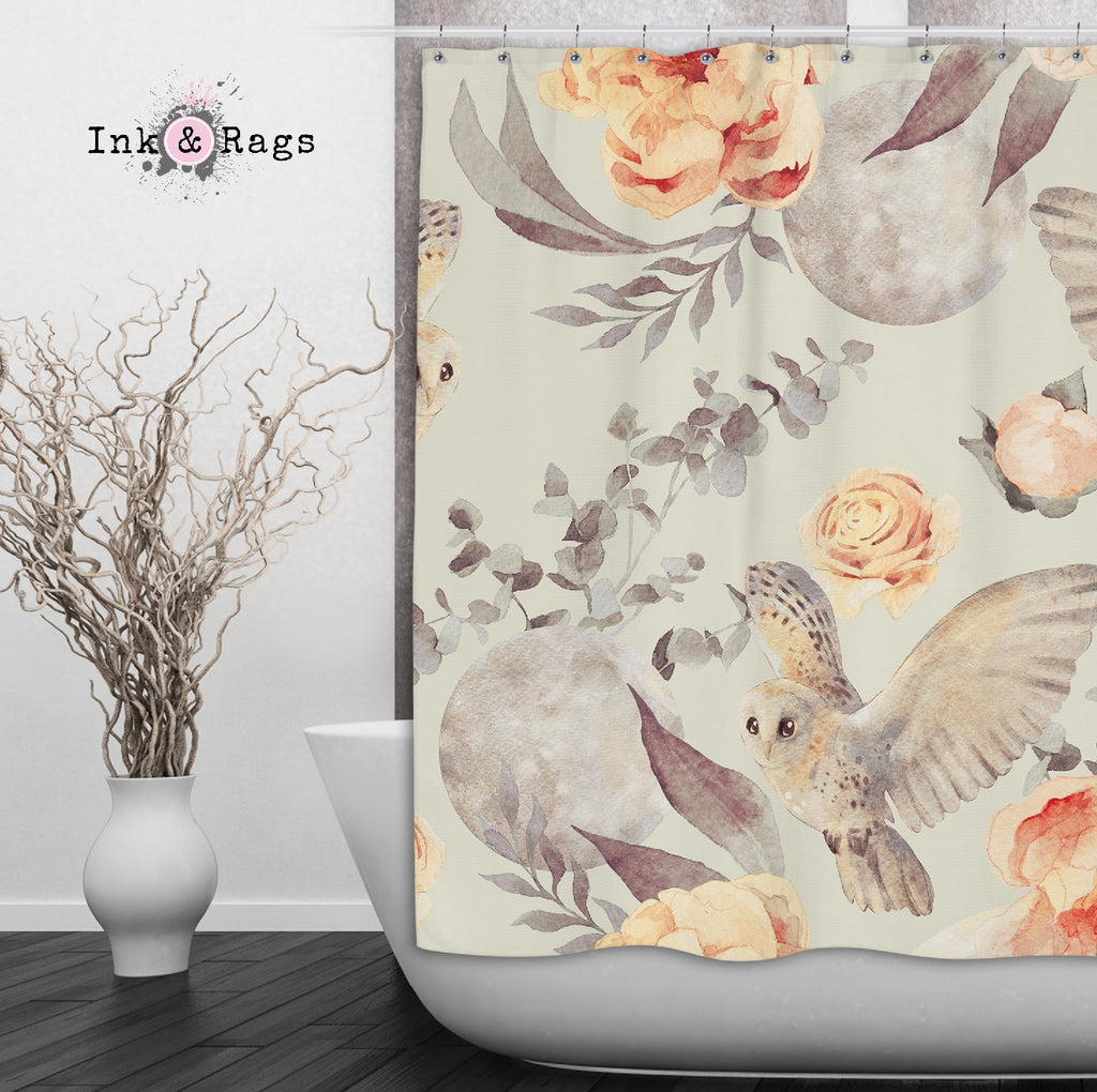 Watercolor Owl Moon and Rose Shower Curtains and Optional Bath Mats