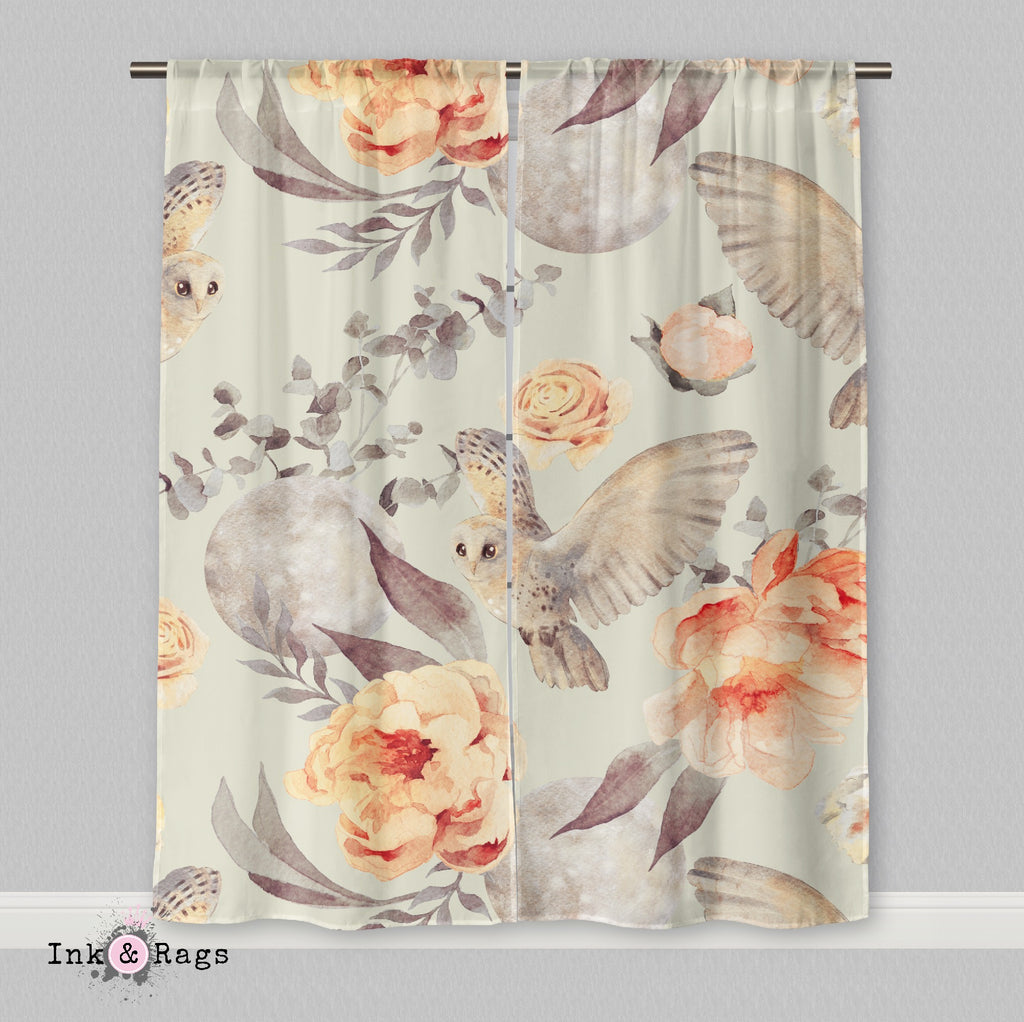 Watercolor Owl Moon and Rose Curtains