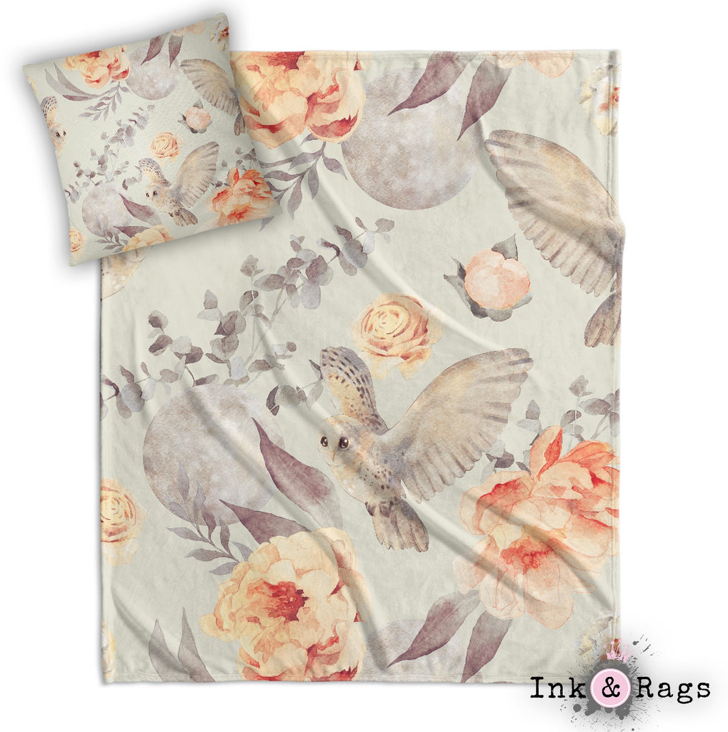 Watercolor Owl Moon and Rose Decorative Throw and Pillow Cover Set