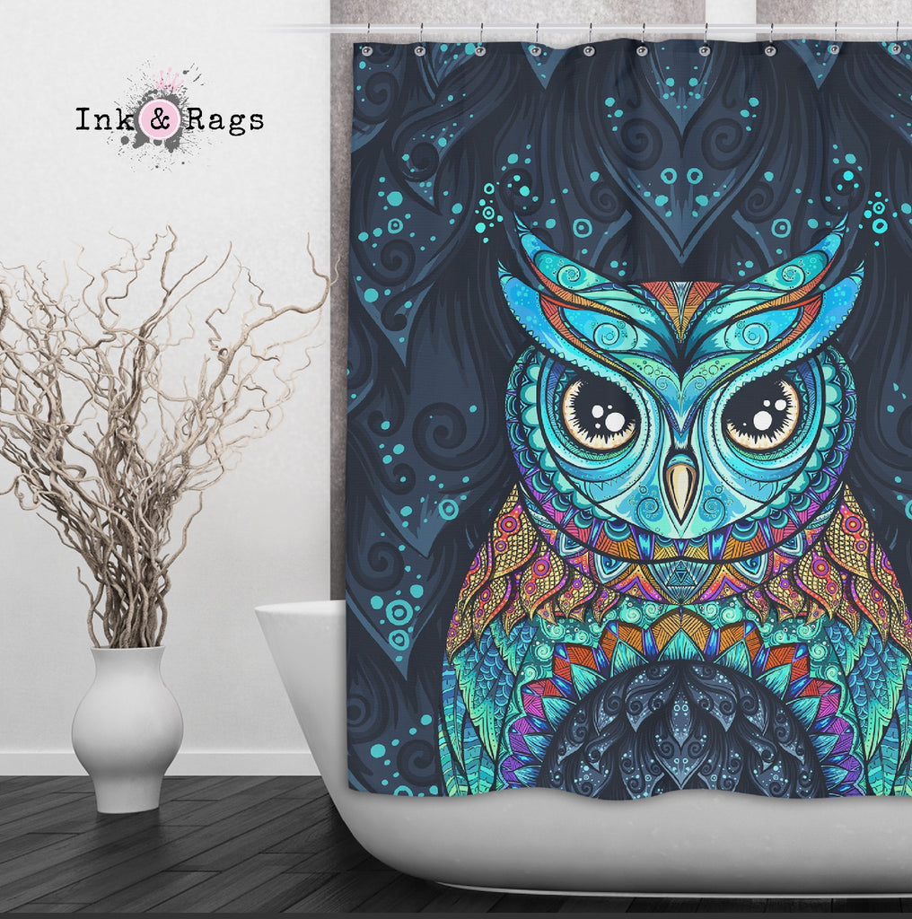 Gypsy Owl Shower Curtains and Optional Bath Mats