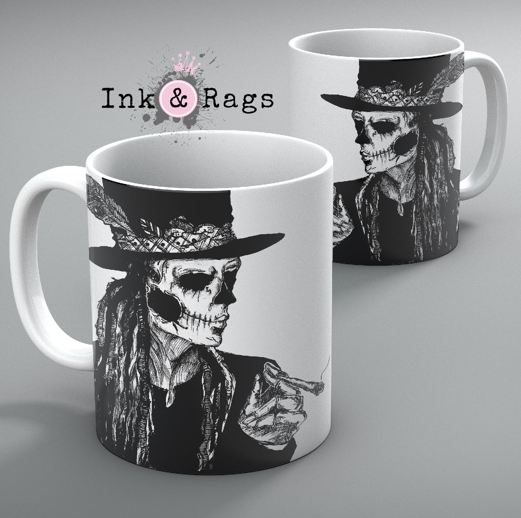 Baron Samedi Hand Drawn Voodoo Mug Set of 2