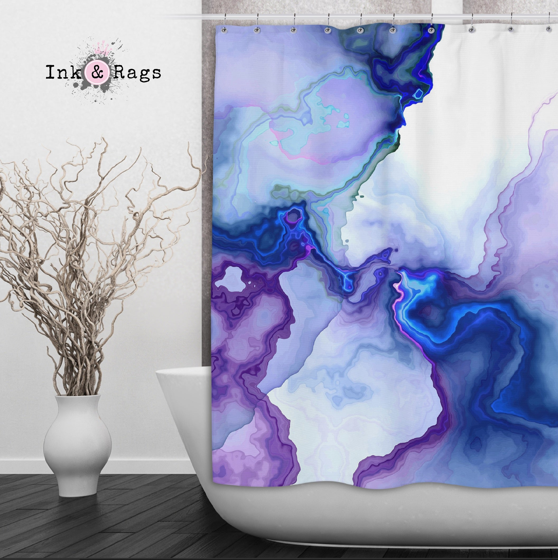 Electric Marble Shower Curtains And Optional Bath Mats Ink And Rags
