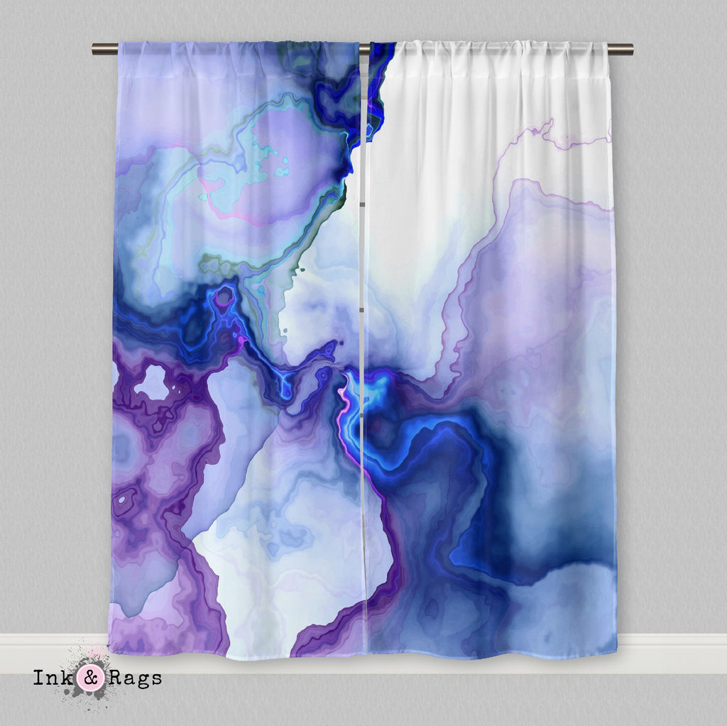Electric Marble Pink Purple Blue Faux Marble Curtains