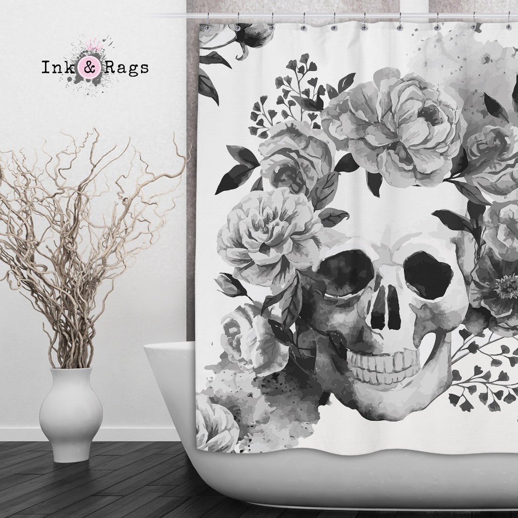 Black and White Watercolor Skull Shower Curtains and Optional Bath Mats