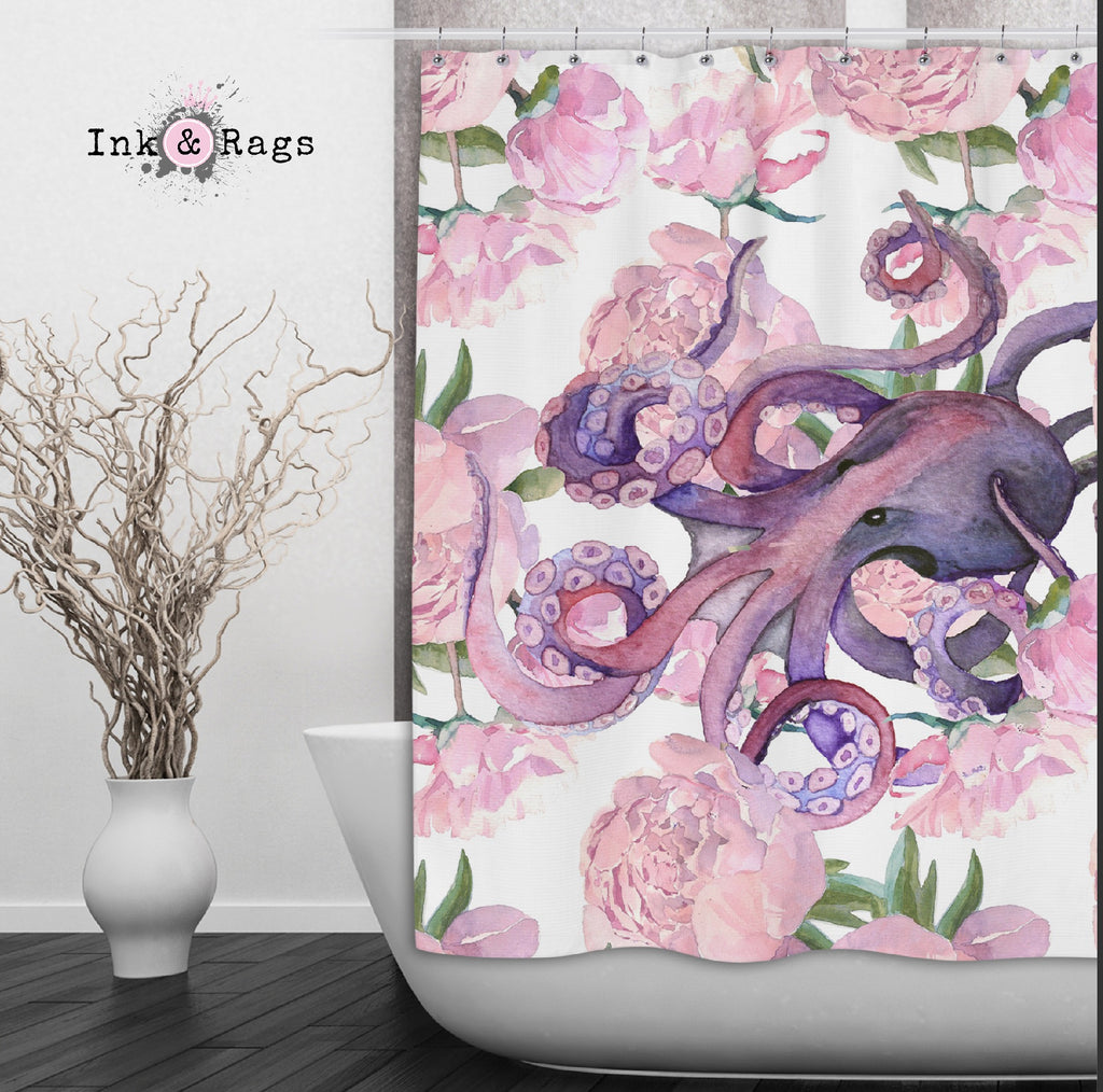 Pink Peony Purple Octopus Shower Curtains and Optional Bath Mats