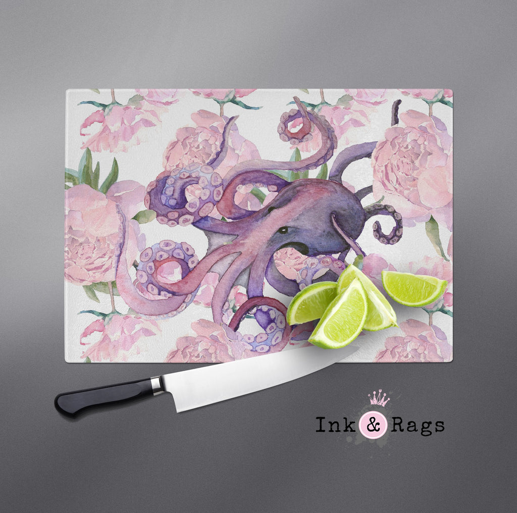Pink Peony Purple Octopus Cutting Boards