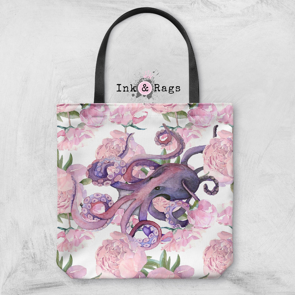 Pink Peony Purple Octopus Casual Tote