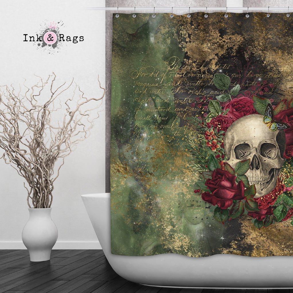 Antidote for Poison Red Rose Skull Butterfly Shower Optional Curtains and Bath Mats