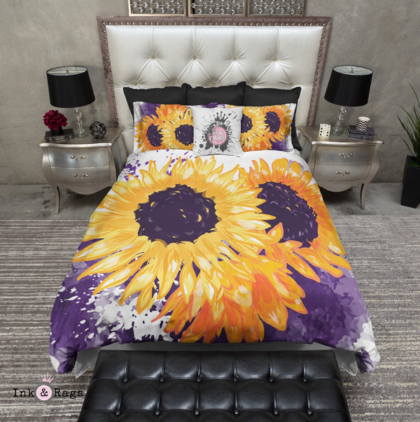 Sunflowers with a Splash of Purple Bedding