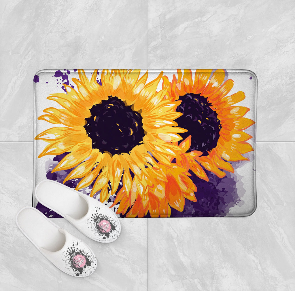 Sunflowers with a Splash of Purple Shower Curtains and Optional Bath Mats