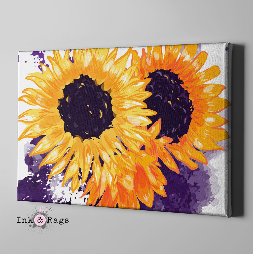 Sunflowers with a Splash of Purple Gallery Wrapped Canvas