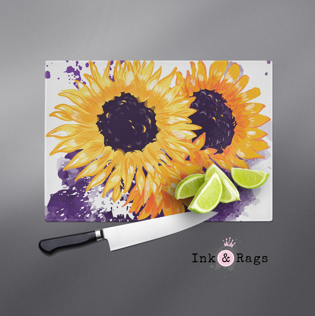 Sunflowers with a Splash of Purple Cutting Boards