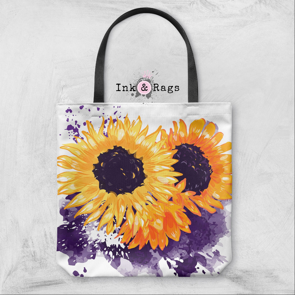 Sunflowers with a Splash of Purple Casual Tote