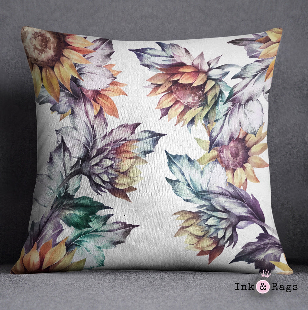 Sunset Sunflower Throw Pillow