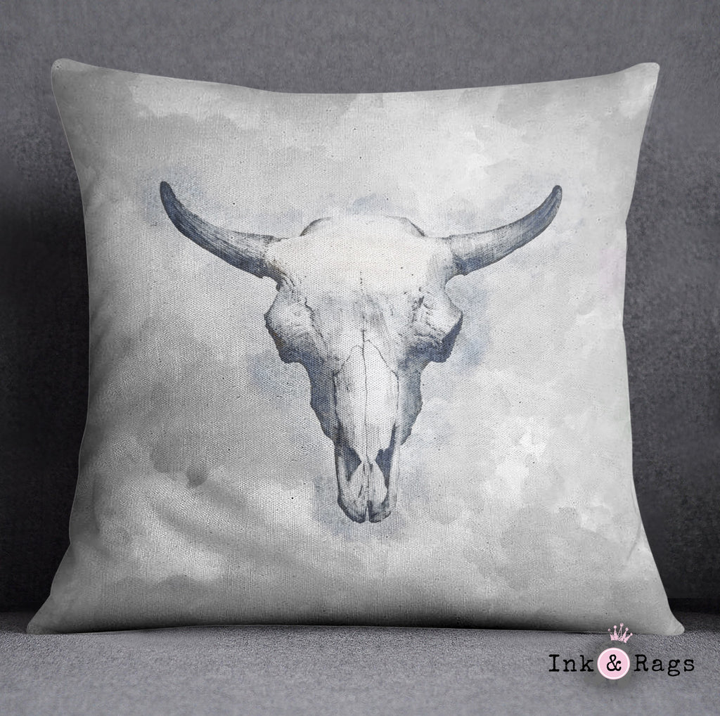 Blue Bull Cow Skull Decorative Throw and Pillow Cover Set