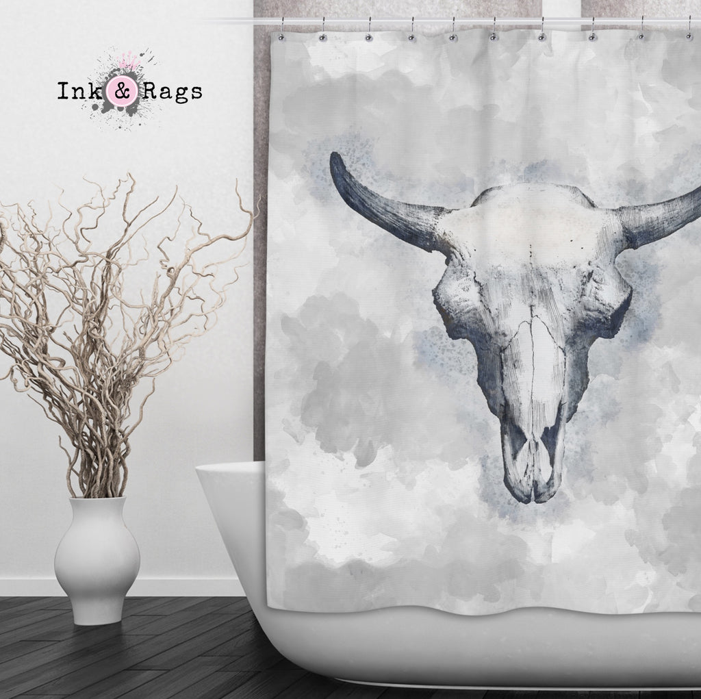 Blue Bull Cow Skull Shower Curtains and Optional Math Mats